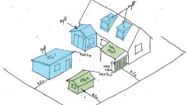 Skiss attefallsbyggnad bygglov