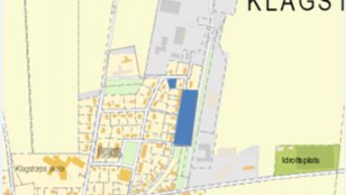Kartbild med markering av kommande tomter i Klagstorp