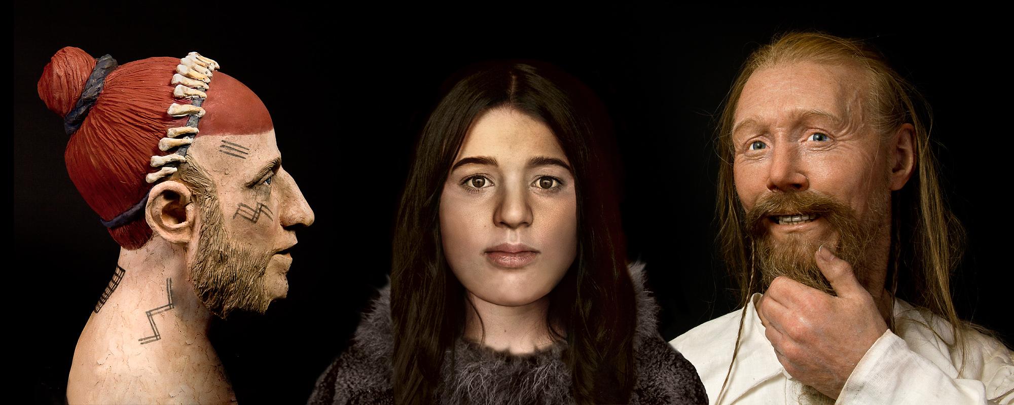 Tre individer i utställningen Öga mot Öga. Skulpturen till vänster är gjord av Gert Germerad. Kvinnan är gestaltad av Callum Reid vid Dundee universitet och vikingen till höger är gjord av Oscar Nilsson.