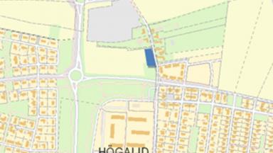 Kartbild med markering av kommande tomter i Södra Gränstorp