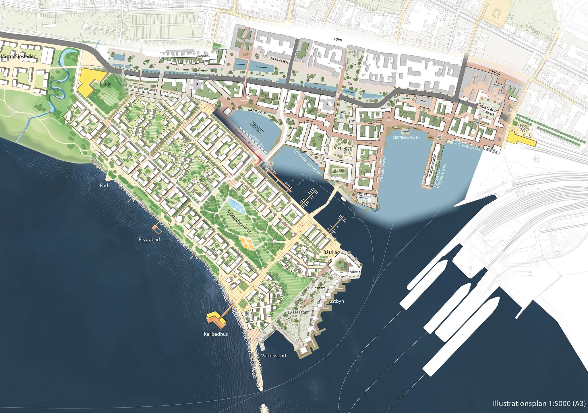 Kartbild över framtida stadsdelar