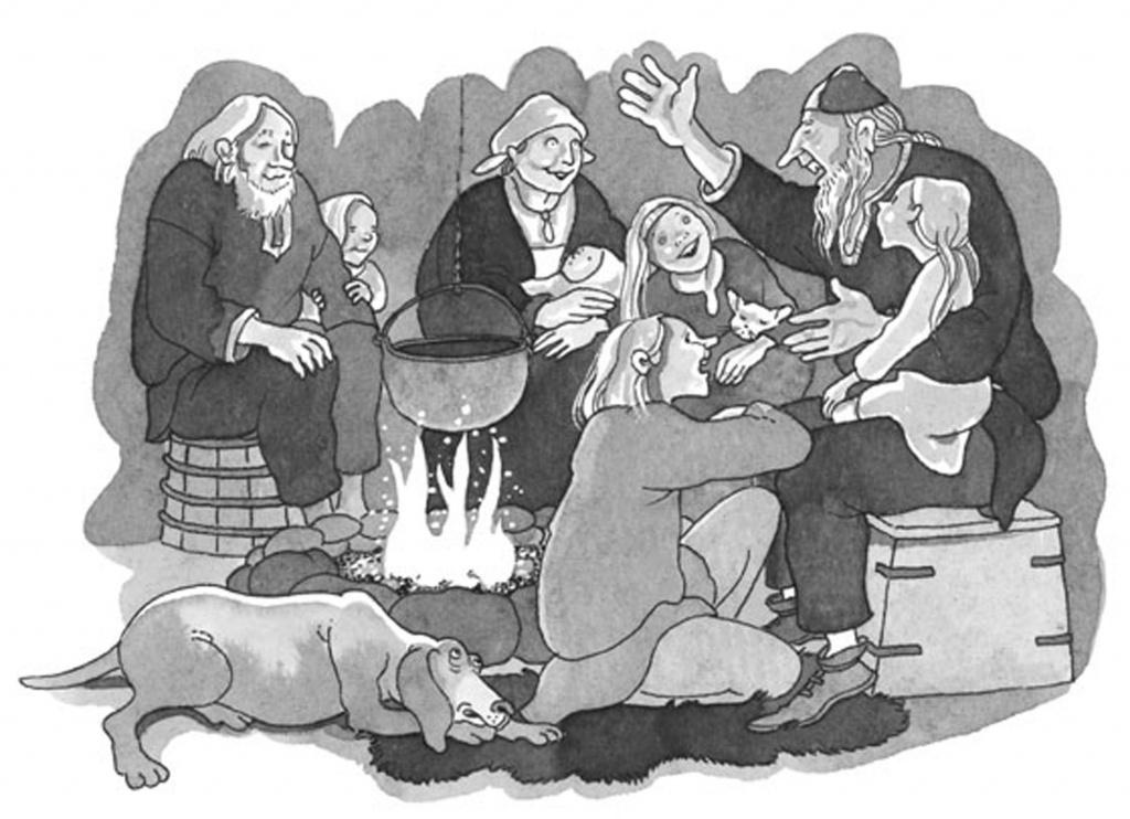 Tecknad svartvit bild. Personer som lyssnar på Vikingasagor. Illustration: Barbro Hennius.
