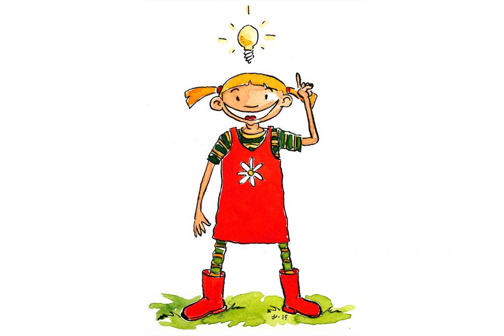Illustration: Flicka med röda kläder och stövlar med idéglödlampa ovanför huvudet.Matteslinga