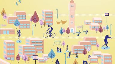 Illustration av hus, människor och fordon.