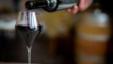 Vin ur en flaska hälls upp i ett glas.