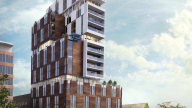 Visionsbild av 16-våningshus