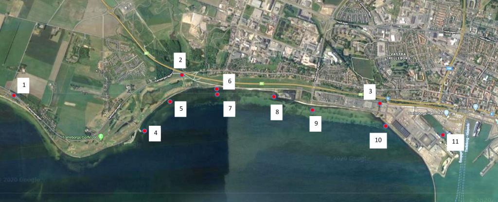 Översiktsbild över provtagningspunkter badvattenkvalitet Västra stranden i Trelleborg