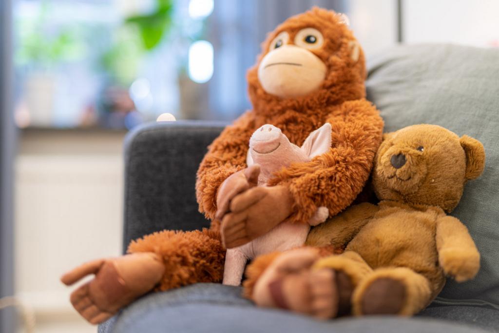 Gosedjur i en soffa tillsammans