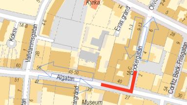 Kartbild med röd markering för aktuell gatuavstängning.