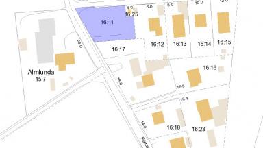 Kartbild med markering av tomt i Vemmerlöv