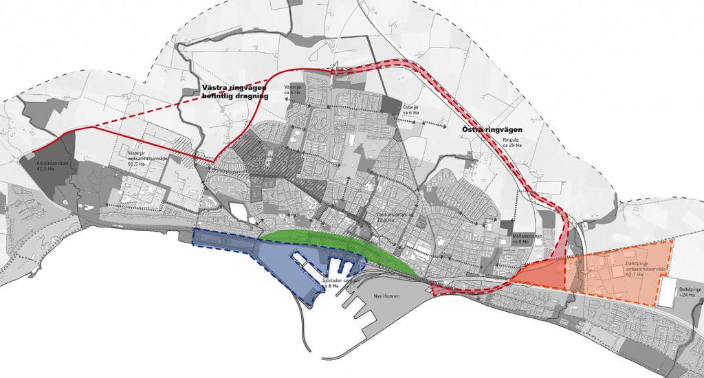 Karta med delprojekten markerade