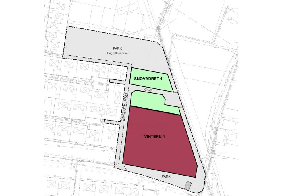 Östervång, karta över kvarteren